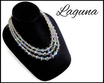 1960s Laguna AB Crystal Necklace, 3 Strand Aurora Borealis Crystals, Rhinestone Clasp, MultiStrand AB Crystal, Gift for Mom