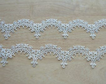 5 yards thin venice lace trim with scalloped borders, crochet wedding veil bridal lace trim