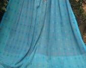 Turquoise /Yellow vintage kantha quilt, Kantha throw, Sari blanket, Denim blue kantha quilt, Yellow Sari throw, Kantha blanket,Boho throw