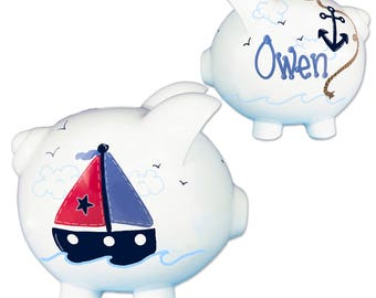 Custom Sailboat Piggy Bank Hand Painted Personalized Ceramic Sail Boat Banks for Baby Boy Nautical Nursery Gift Boats Sailor PIGG-whi-3N