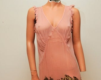 Upcycled  Pink SIlk Sheer Dress