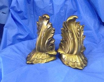 vintage brass scrolled leaf bookends pm craftsman 22.99 by Antiquesnoopdog