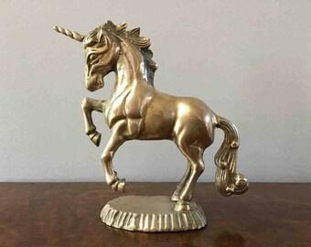 Vintage Unicorn Statue in Brass