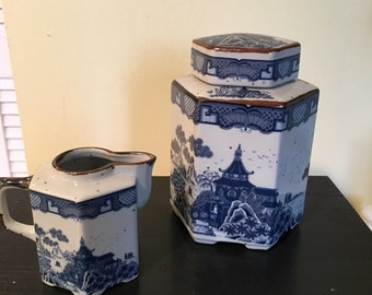 Chinoiserie Octagon Six Sided Tea Canister and Creamer / Cream Pitcher Pagoda Design Stoneware Made in Japan