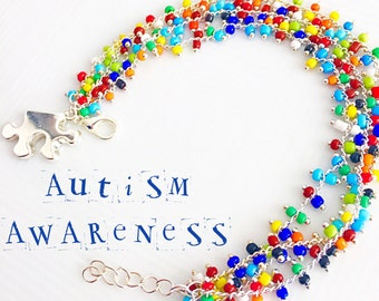 Autism Awareness Bracelet, Autism Speaks Jewelry, Puzzle Piece Charm, Confetti Glass Charm Bracelet Glass Bead Charm Beaded Eclectic