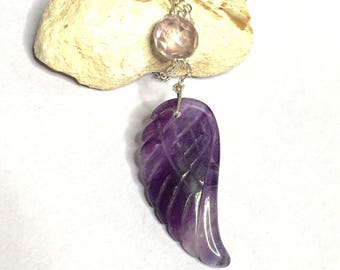 ANGEL Wing Amethyst Pendant, Silver wire wrapped, free necklace,CLEARANCE SALE, Item No. S188