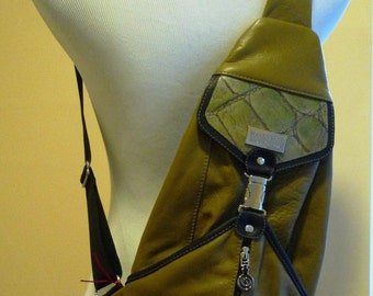 Leather sling backpack/frontpack- olive green with black details/real leather/cross shoulder
