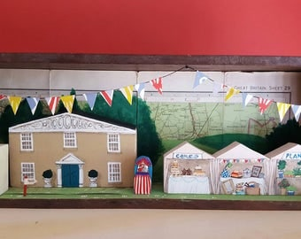 Village fete at the Squires House - mixed media story box