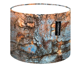 Lamp Shade - Fissures. Photography lampshade, orange, blue, texture.