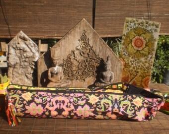 Yoga Mat Bag , Neon Flower Print, Hand made Yoga Bag,