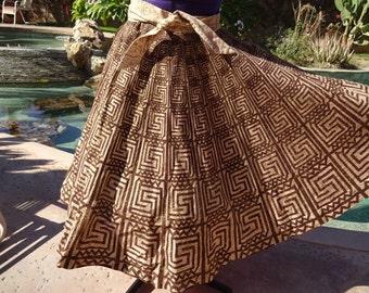 """Vintage 1950s 50s Mexican handpainted full circle skirt unique S/M 29"""" waist cotton Maya de Mexico"""