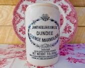 Vintage Dundee Marmalade Stoneware Pot, James Keiller Collectible Jam Jar, English Orange Marmalade Pot, Est. 1797