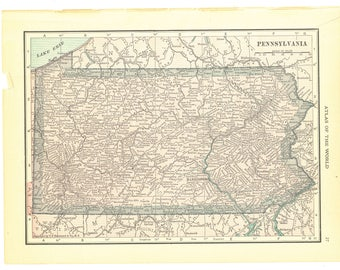 1921 Hammond's Vintage Map Pages (Pennsylvania on one side and Maryland and Delaware on the other side)