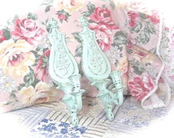 YOU PICK COLOR Shabby Distressed Ornate Floral French Country Scrolled Candle Wall Sconce Set of 2 Pair Cottage Chic