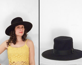 Black PANAMA Hat 1960s RORI Brand Wool Safari Hat Size 7 22 Inches Unisex