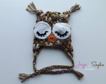 Hooty Owl Earflap Hat - Ready To Ship - Newborn - Sleepy Eye