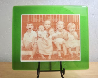 Custom Wedding, Family, Pet Picture Printed as Sepia on Fused Glass with Stand