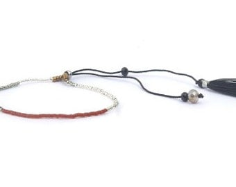 Curvy KINK Silver White Black and Chestnut bohemian tassel bracelet. Jewelry. Raunchy card. Where have you been all my life?