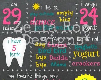 Chalkboard First Birthday Sign -- Printable Custom Sign