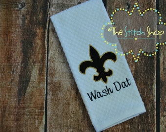 Appliqued and Monogrammed New Orleans Saints Dish Towel with Fleur De Lis