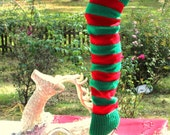 Red/Green Striped Legwarmers 25 inches