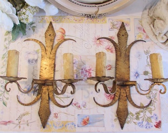 Superb very large pair of ormolu sconce's, wall lights made of heavy metal . Paris charm, cottage chic