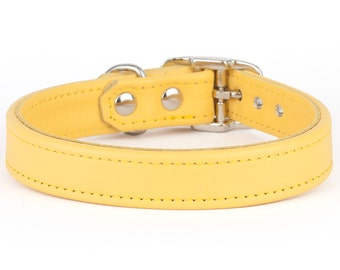 Yellow Leather Dog Collar - Handmade in the UK