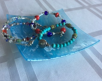 Turquoise blue slumped glass dish to display jewelry, candles, soap, or small treats