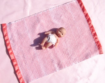 Hand Woven Baby Doll Blanket Flamingo Pink Small Doll Blanket Woven Pink Doll Blanket Blanket for 8 Inch or Less Doll Handwoven Doll Blanket