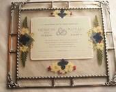 Framed Wedding Invitation|Pressed Flower Art|Wedding Keepsake|Weddings|Shower Gift|Gifts & Mementos|Keepsake|Handcrafted|Made in USA