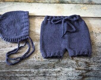 Newborn Bonnet & Shorts Set - Navy - UK Seller - Photo Prop