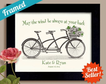 Irish Wedding Gift Unique Engagement Gift Ireland Shamrock Art Saint Patricks Day Bicycle for Two Personalized Wedding Irish Blessing Print