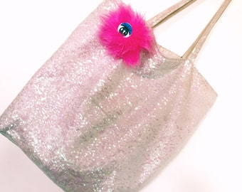 Monster Hot Pink Pom Pom Hair Tie/Pin Kawaii