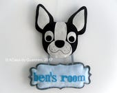 Customized door hanger - Baby name sign - Boston Terrier