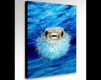 Puffer Fish Painting | Blow Fish | Sea Life Art | Underwater Art | Pufferfish Art | Coastal Decor | Surf Decor | Nautical Art | Canvas Print