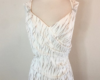 Shimmering White and Silver Flowy Gown - 90s Does Old Hollywood Size Large XL