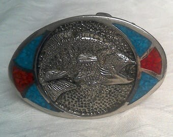 Big Mouth Bass Pewter Turquoise Jasper Inlay Belt Buckle Vintage