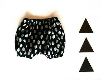 Bloomers baby girl modern minimal polka dot design black gray diaper  cover shorts tights newborn - 3T