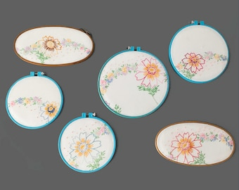 Vintage Fabric Embroidery Hoop Wall Art Set Handmade Wall Hanging Floral Embroidery Hoop Decor Vintage Sewing Nursery Decor Craft Room Hoops
