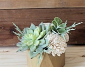 Medium Artificial Succulent arrangement, centerpiece, gold wood vase, home decor, wood vase, sola flowers, house warming, wedding recept