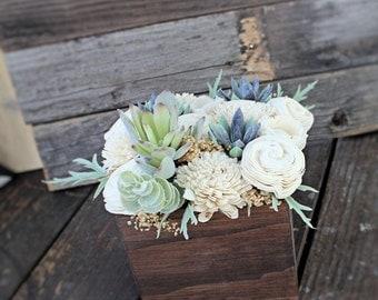 Large Artificial Succulent arrangement, centerpiece, wood box, home decor, wood vase, sola flowers, house warming, wedding reception