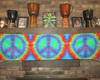 Peace Sign Tie Dye Tapestry, wall hanging, long scarves, tie dye wall poster