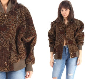 Corduroy Bomber Jacket 90s Floral Leopard Print Brown Retro 90s Zip Up Windbreaker 80s Hipster Vintage Lined Medium to Large