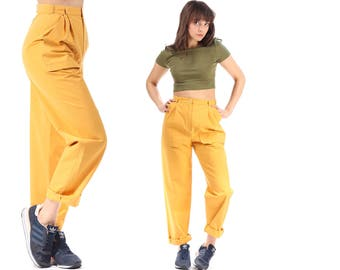 High Waist Trouser 80s Minimalist Loose Pants Deadstock 1980s Tapered Yellow High Waisted Pleated Pockets Cotton Women Pants size S to M