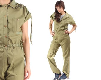 80s Jumpsuit Work Dungarees Safari PANTSUIT Khaki Green Romper Pants Vintage Black Zip Up Wide Leg High Waisted Boho Onesie Retro Medium