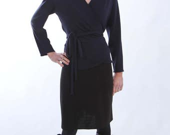 Wrap Top Navy Blue Jersey - with Long Sleeves