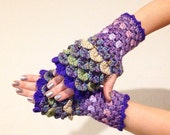 READY TO SHIP - Dragon Scale Fingerless Gloves - purple, green, tan, wrist hand arm warmers women crochet game of thrones khaleesi