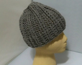 Crocheted  Bulky Ladies Winter Hat  Messy Bun Assorted colors   Gray