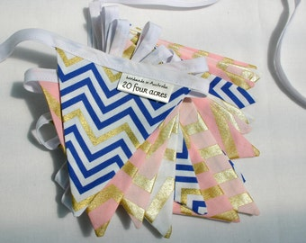 Mini Fabric Bunting - Royal Blue, Pink and Gold Chevron - Photo Prop, Party Decor, Photobooth, Nursery Decor, 1st Birthday