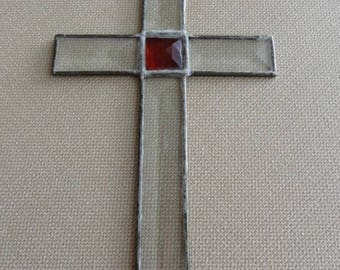 Vintage Handmade Stainglass Cross  C858